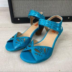 Miz Mooz Blue Leather Buckle Strap Low Heel Sandal